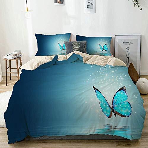 772 AQL Parure de lit avec Housse de Couette en Microfibre,Papillon Blue Magic sur l'eau,Housse de Couette 200cm x 200cm avec 2 taies