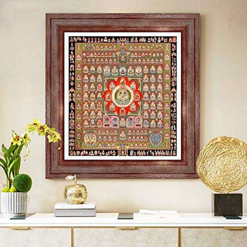 Thangka Thangka Mandala Boeddha schilderij Tibetaans religieuze canvas schilderij kunst foto mandala kunst schilderij (Color : B, Size (Inch) : 45x50cm No Frame)