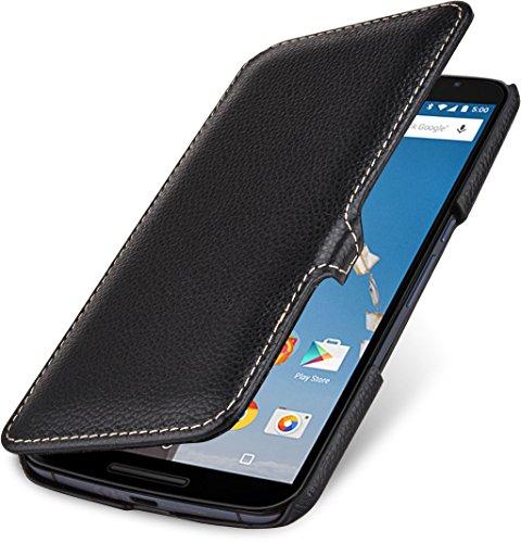 StilGut Book Type Case mit Clip - ohne Magnet -, Hülle aus Leder für Google Nexus 6 & Motorola Nexus 6, schwarz