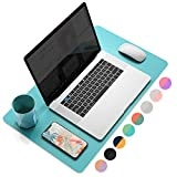 YSAGi Multifunctional Office Desk Pad, Ultra Thin Waterproof PU Leather Mouse Pad, Dual Use Desk Writing Mat for Office/Home (23.6' x 13.7', Calamine Blue+Cobalt Green)