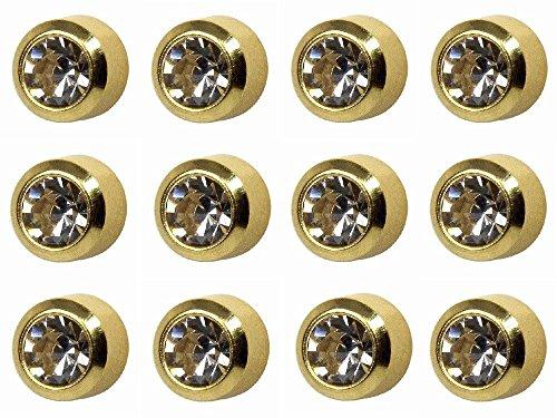 12 Paires Studex Avril/Cristal Grand 5mm Or Plaqué Lunette Réglage Oreille Piercing Boucles D'oreilles Pierre de Naissance