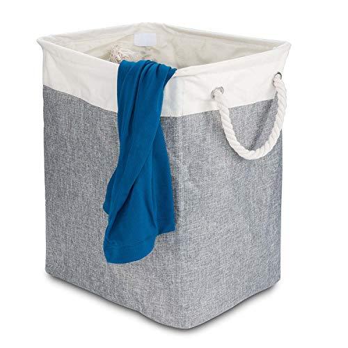 Cesta de lavandería de bambú, colector de lavandería de 100 L Caja de lavandería de 2 compartimentos, clasificador de ropa con bolsa de lavandería extraíble; 63x52x32cm (Cesta de lino gris)