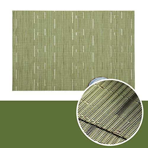 Jogo americano Teslin de PVC com isolamento térmico, resistente a manchas, para mesa de jantar, durável, estampa de bambu, descansos de mesa de cozinha, conjunto de 6