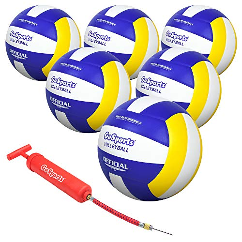 GoSports Indoor Competition Volleyball 6 Pack - Made From Synthetic Leather - Includes Ball Pump & Carrying Bag