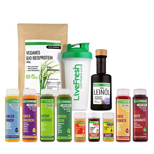 LiveFresh® Vollwertige Saftkur [3 Tage - 13 Säfte & Shots] - inklusive Zitronen, veganes Reisproteinpulver, Leinöl, Shaker und Dosierlöffel - Kaltgepresst - Ohne Zucker & Zusätze
