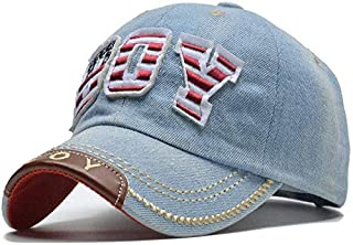 Mini personality baseball cap Boys baseball cap letter baseball cap child beanie hat girl child baseball cap size 51-55Cm (Color : Light blue)