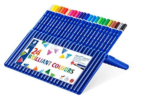 STAEDTLER Aquarell-Buntstifte ergo soft, Set mit 24 brillanten Farben, ABS-System, rutschfeste Soft-Oberfläche, kindgerecht nach DIN EN71, 156 SB24