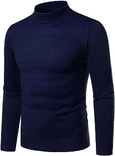 Men's Turtleneck Pullover Long-Sleeved fine Knit Sweater Leisure Slim fit Basic Men's Knitted Sweater Slim Solid Color Sof...