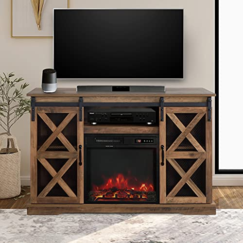 """48 Inch TV Stand Console W/Sliding Barn Door for TVs up to 55"""", with Fireplace and Remote Control,Rustic Oak Finish"""
