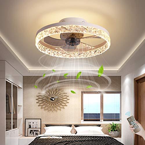 Dagea LED Techo Aficionados con Luces 30W Regulable Control Remoto Ventilador Iluminación 6 velocidades de Viento Reversible Invisible Silencio Ventilador de Techo Lámparas Sala Cuarto Comedor,Blanco