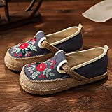 N&W Embroidered Shoes Bohemian Style Women Handmade Linen Cotton Loafers Slip On Espadrilles Sneakers Ladies Casual Flat Driving Shoes Old Beijing Embroidered Shoes (Color : Gray Size : 5 UK)