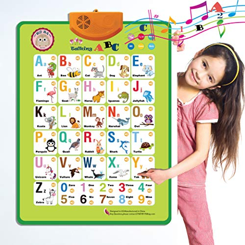 Electronic Interactive Alphabet Wall Chart Speech Therapy Toys,Talking ABC & 123s & Alphabet Poster. Best Educational Toy for Toddler Kids Fun Learning Toys at Daycare,Kindergarten for Boys & Girls