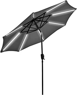 Lucky-gift - 9 Ft Patio Solar Powered Umbrella with LED Light - Outdoor Umbrella Stand Cover Waterproof Uv Protection Solar Lights Outdoor Umbrella for Table with Lights Powered Cover Resist