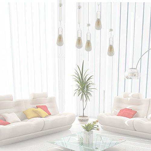 Pendant Light Sockets, Sopoby 4-Pack Hanging Lamp Socket for E26 / E27 Base Bulbs, 5.9ft Light Cord Kit with On/Off Switch, White
