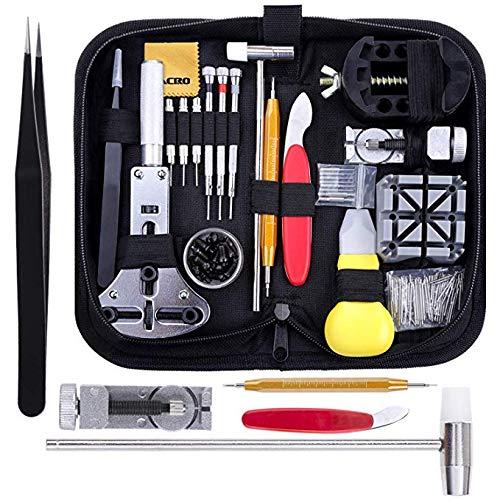 Zacro Reparaturset für Armbanduhren, 151-teilig, professionell, Sprungfeder-Werkzeug, geeignet zur Reparatur von Uhrenarmbändern, Nadeln, Werkzeugset mit Transporttasche