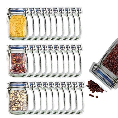 30 bolsas grandes para tarros con cierre, para almacenamiento de alimentos y botanas, reutilizables, herméticas, a prueba de fugas,...