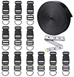 12 Yards Black Nylon Heavy Webbing Straps with 12 Set Plastic 1 Inch Flat Side Release Buckles, Tri-Glide Slides and D Rings for DIY Making Luggage Strap, Pet Collar, Backpack Repairing