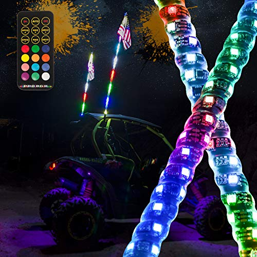 MAXHAWK 2X 6ft LED Whip Light 360° Spiral Chasing / Dancing Lighted Antenna RGB LED Whips with Flag RF Remote Control for UTV ATV Off Road Truck Sand Buggy Dune Quad 4X4 Boat