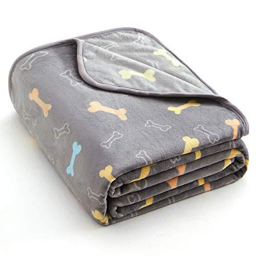 ALLISANDRO Flauschige Hundedecke [80x60cm Grau] Katzen Decke mit super Soft weiche Flauschige Haustier-Decke, Überwurf für Hundebett Sofa und Couch