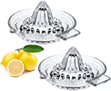 Nicunom 2 Pack Glass Citrus Juicer Reamer Squeezer with Handle and Pour Spout, Manual Juicer Citrus Press Perfect for Juicing Oranges, Lemons & Limes