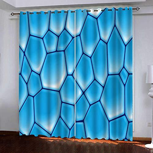 Cortinas Salón Opacas Modernas Térmicas Aislante Decorativas con Ojales - Cubo Abstracto 3D Patrón Aislantes Cortinas para Ventanas Infantiles Dormitorio 2 Piezas 70x160cm