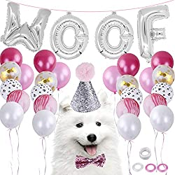 LOCOLO Dog Birthday Party Supplies20 Pieces Blue BalloonsParty Decorations Paw BalloonsDog Bow Tie And HatWOOF Letter Latex BalloonsBalloon
