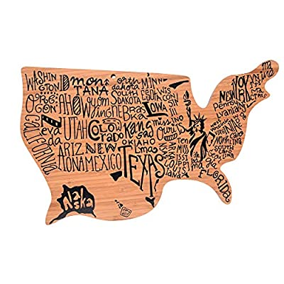 Bamboo Wood Cutting Board Shaped Like The USA   for Chopping, Serving and Decor - All 50 States Written in their Unique Forms - Serve Cheese   Meats   Deserts   Fruit   Veg   Crackers by Just Cutting