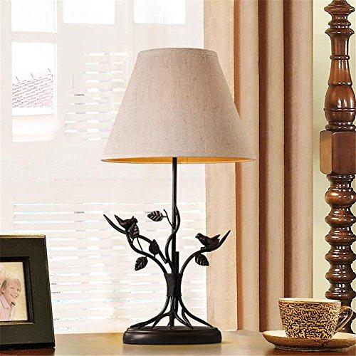 Rétro Lampe De Bureau Lampe De Chevet Village Américain Style Fer Birdie Décoration Creative Tissu Ombre Table Lampe Avec Interrupteur À Bouton Pour Chambre Salon Éclairage Intérieur