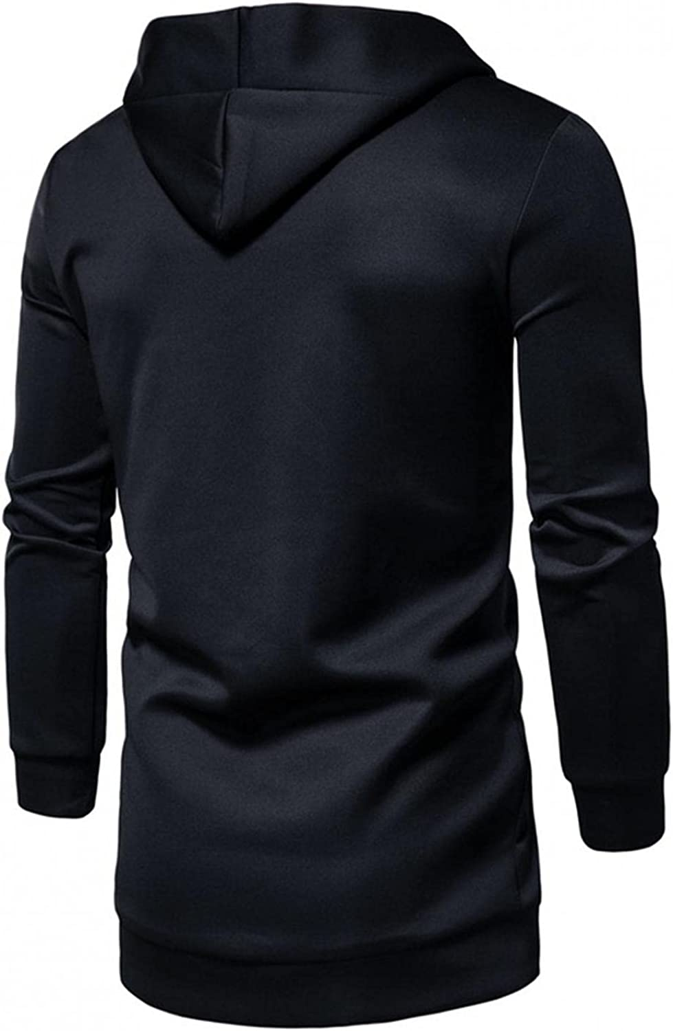 Clearance Trendy Men's Hooded Solid Trench Coat Jacket Long Cardigan Casual Long Sleeve Outwear