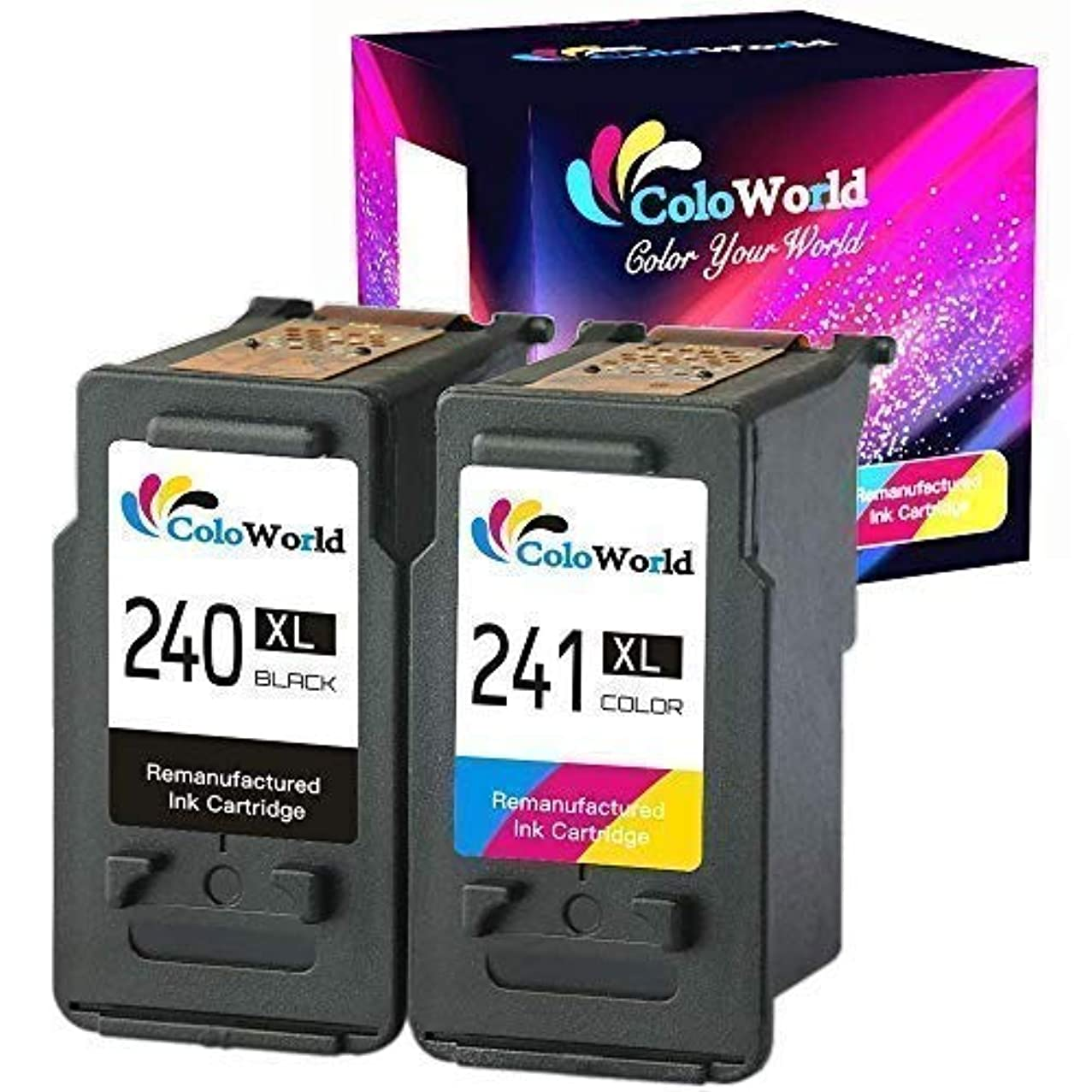 ColoWorld Remanufactured 240XL 241XL Black and Tri-Color Ink Cartridge Combo Pack High Yield Replacement for PG-240XL CL-241XL Used to Pixma MX472 MX452 MX522 MX459 MX532 MX432 MX479