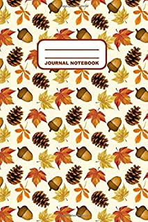 Journal Notebook: Notebook, Journal, Or Diary | Autumn Leaves Acorn Pine Cone Pattern Cover Design | 110 Blank Lined Pages | 6
