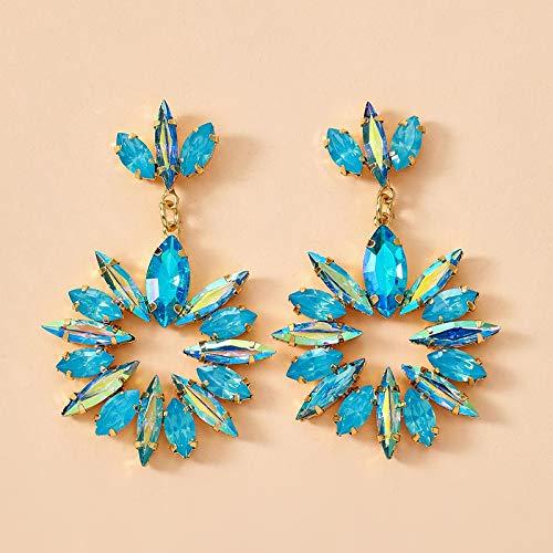 FEARRIN Pendientes Anillos de Moda Pendientes Colgantes de Piedra de Cristal Brillante Colorido para Mujeres Flores de Lujo Diamante de imitación Joyería de Fiesta Regalo Pendientes 14378