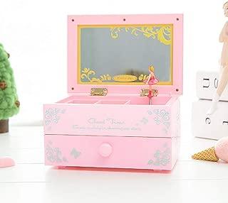 BREIS Joyero diseño de Bailarina Musical para Guardar Joyas, Caja Musical con Espejo, Regalo para niñas de 6 años, Color Rosa