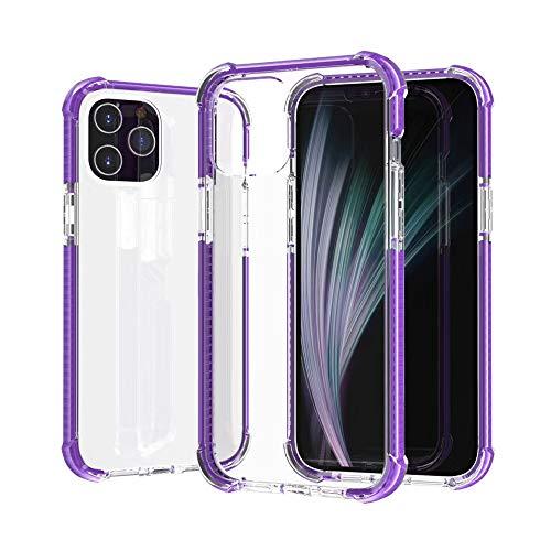 HDZW Compatible con iPhone 12 Mini Pro MAX Estuche Transparente como el Cristal Airbag de Cuatro Esquinas Resistencia Estuche Transparente de TPU a Prueba de Golpes (6.1 Pro, púrpura)