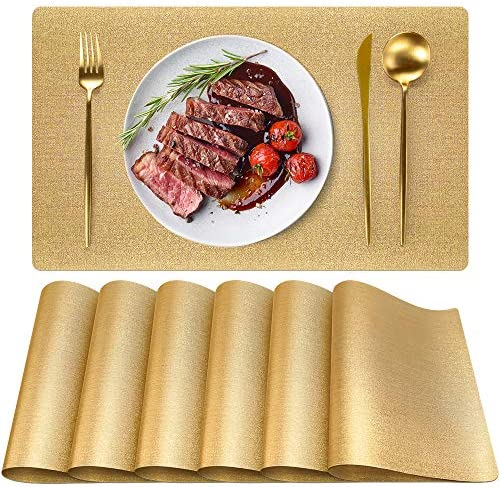 Gold Placemats Placemats for Dining Table Set of 6 PVC Washable Waterproof Wipeable Non Slip product image