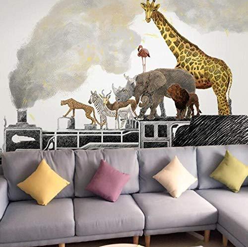 3D vliesbehang foto vlies premium fotobehang oorspronkelijke dierenfamilie tijger/zebra/roodwild/giraffe op trek 250*175 250 x 175 cm.