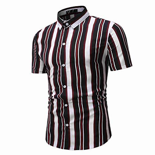 Camisa a Rayas para Hombre con Bloques de Color Ropa de Calle Tendencia de la Moda Todo fósforo Clásico de un Solo Pecho Camisas básicas de Manga Corta M