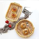 Cesto Hogar Pan Snack Postre Japonés Bambú Tejido Pan Basket Basket Sala De Estar Alimentación Cesta Cesta Bandeja Tejido De Ratán (2pack)