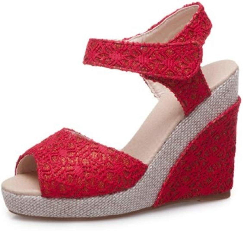T-JULY Ladies High Heel Platorm Pumps Woman Wedge Sandals Gladiator Open Toe Hook & Loop Crystal Wedding Party shoes