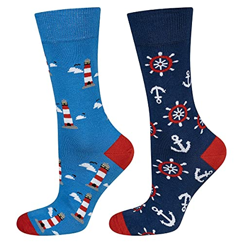 soxo Calcetines de Color para Hombre | Talla 40-45 | Calcetines largos de algodón con anclas | Perfectos para Zapatos y Botas