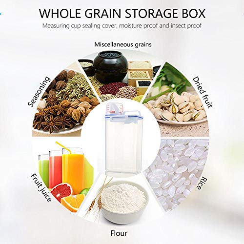 AOLVO Rice Bin 2kg Rice Container, 3 Pcs Airtight Cereal Container Rice Barrel Dry Grain Dispenser Thicken Rice Cylinder Clear Food Storage Box with Airtight Design Measuring Cup Pour Spout (3pc)