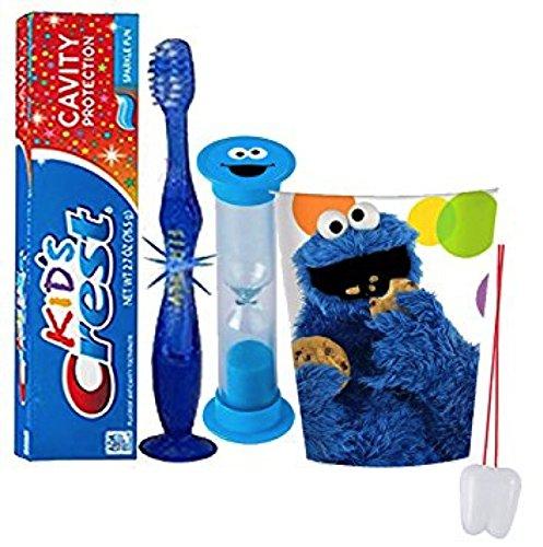 Sesame Street 'Cookie Monster' Inspired 4pc Bright Smile Oral Hygiene Set! Flashing Lights Toothbrush, Toothpaste, Brushing Timer & Mouthwash Rinse Cup! Plus Bonus 'Remember To Brush' Visual Aid!