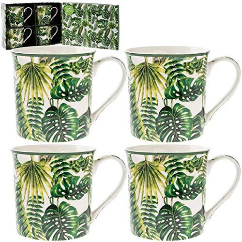 Les Trésors De Lily [Q2785 - Coffret Mugs Porcelaine 'Jungle' Vert Blanc (4 Mugs) - 85x85 mm
