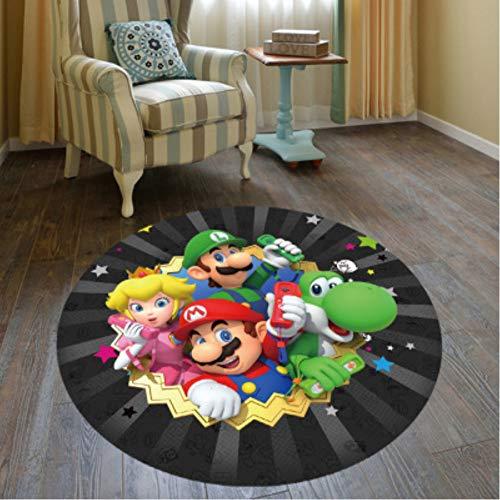 chengcheng Super Mario Brothers Spielteppich rutschfeste runde hängende Korb Teppich Tür Stuhl Matte 60cm