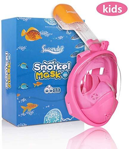 Swonder 180 ° Vista panorámica Cara Completa máscara de Snorkel- máscara de Buceo sin cámara con GoPro Montaje y un diseño de Primera con Advertencia, para Adultos y niños