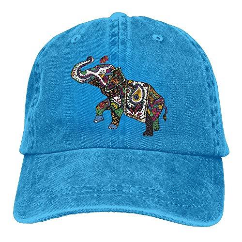 KLing Unisex elefante asiático colorido elefante vintage vaqueros gorra de béisbol clásica de algodón para papá, gorra ajustable (una sola talla)