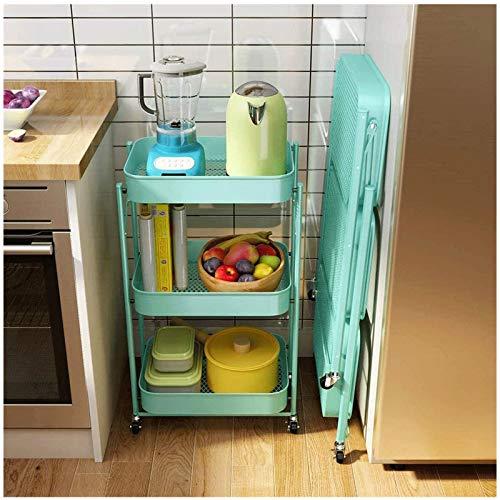 HUOJIANTOU 3 Alturas Plegable Carrito de Almacenamiento Cocina Carro Mltiusos de organizacin con 4 Ruedas(2 Frenos) para Cocina Vestbulo Dormitorio o Oficina (Color : Blue)