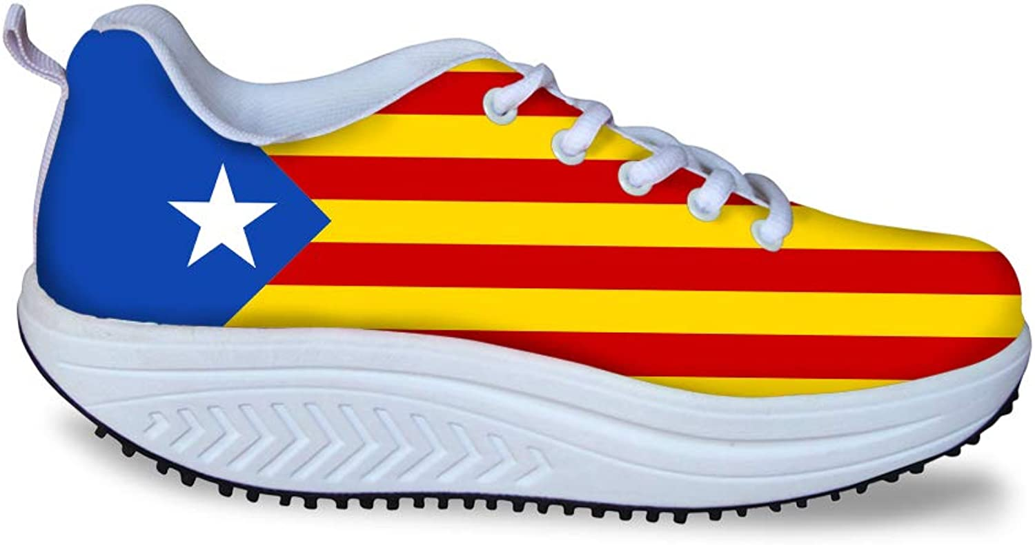 Owaheson Swing Platform Toning Fitness Casual Walking shoes Wedge Sneaker Women Catalonia Estelada Flag