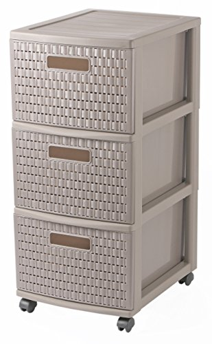Rotho 1448107716 Rollcontainer Tower 3 Schübe Country