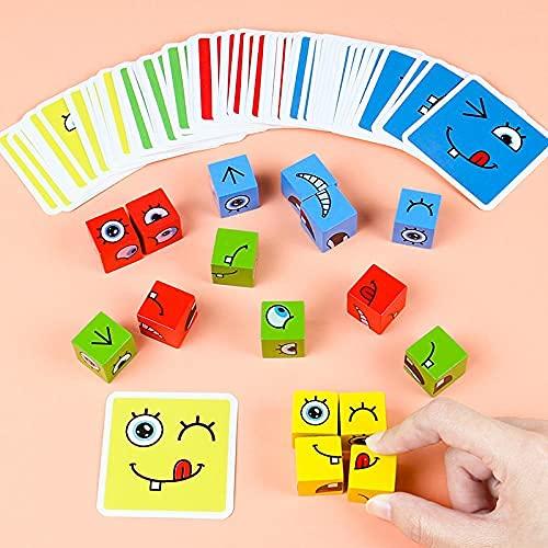 Puzzle Assorti Emoji Bois, Cubes De Construction Magic Cubes De Puzzle GéoméTrique Drôle Emoji, Cube en Bois Jouets Montessori, Jeu Dassociation Jouets Formation Pensée Logique Interactifs